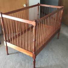 """Antique Cherry Wood Spindle Crib Decoration / Parts Only 56""""W x 31""""D x 39""""T"""