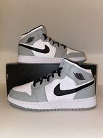 Nike Air Jordan 1 Mid GS Light Smoke Grey Black White 554725-092 Size 5Y-6.5Y