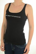 BNWT Women's EMPORIO ARMANI Black Graphic Diamanté Logo Tank Top. Sizes: XS-L