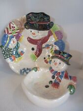 Snowman Christmas Ceramic Iridescent Cookie Plate & Candy Dish / Bowl CUTE!