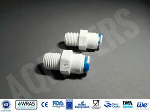 """2 x 1/4"""" NPT to 1/4"""" Push Fit Connector Adaptor - Reverse Osmosis, RO fitting"""