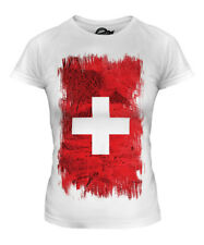 SWITZERLAND GRUNGE FLAG LADIES T-SHIRT TOP SCHWEIZ SVIZZERA SUISSE SWISS SVIZRA