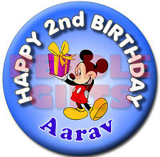 MICKEY MOUSE PERSONALISED BIRTHDAY BADGE - 58mm