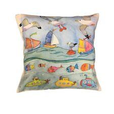 "Emma Ball Cushion Cover 16"" x 16"" UNDER THE SEA Nautical Coastal Boats Fish"