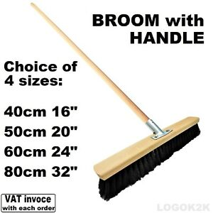 Sweeping Brush with HANDLE SOFT Bristle Hard Outdoor Broom Yard NYLON BLACK