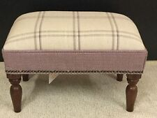 Footstool upholstered in a Laura Ashley fabric Corby check amethyst