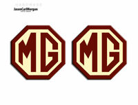 MG TF LE500 Styled 70mm Badge Insert Set Of 2 Front Rear Logo Burgundy Cream