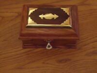 Jewellery Box Wooden & Brass Indian Hand Made With Lock & Key   Trinket Chest
