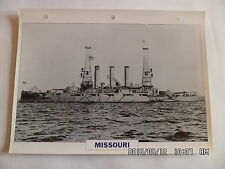 CARTE FICHE NAVIRES DE GUERRE MISSOURI 1901 CUIRASSE