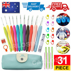 31Pcs Soft handle Crochet Hooks Knitting Needles Sets Sewing Tools With Bag Grip