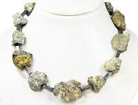 Wunderschöne Edelsteinkette aus Edelsteinen Pyrit Rohsteinen in Form von Nuggets