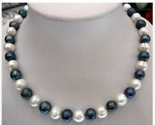 New 7-8mm Natural Black & White Akoya Cultured Pearl Fashion Jewelry Necklace