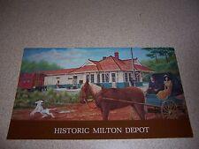 1909 RAILROAD DEPOT MILTON FLORIDA VTG ART POSTCARD