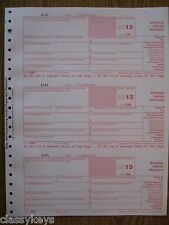 2013 IRS Tax Form 1098 single sheet set for 3 recipients, carbonless, 3-part