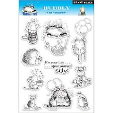 PENNY BLACK RUBBER STAMPS CLEAR BUBBLY CATS NEW clear STAMP SET
