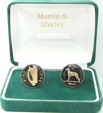 1964 IRELAND cufflinks from OLD IRISH sixpence coins Black Gold