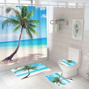 Coco Shower Curtain Set Bathroom Rugs Thick Bath Mat Non-Slip Toilet Lid Cover
