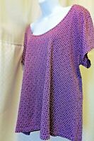 Fresh Produce Plus Size 1X Short Sleeve Womens Top Relaxed Fit Purple w/ Designs