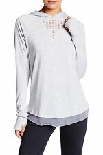 Nanette Lapore Play Grey Soft Heather Long Sleeved Hoodie Laser Cut L Large NWT