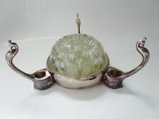 ancien pique fleur en verre et métal argenté-VMC-reims-france-cygnes-vintage 50
