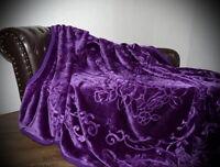XXL LUXUS Tagesdecke Kuscheldecke Glanz-Design violett 200x240cm