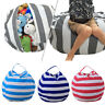 Kids Stuffed Animal Plush Toy Storage Bean Bag Soft Pouch Stripe Fabric Chair