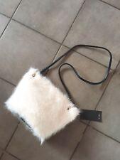 Zara ECRU Bianco Sporco in pelliccia sintetica Borsa a tracolla nuova con etichetta