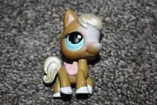 Littlest Pet Shop Tan White Horse #124 Pearly Mane Blue Eyes Pony LPS Toy Hasbro
