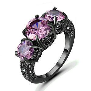 Size 9 Pink CZ Engagement & Wedding Ring Women's 10KT Black Gold Filled