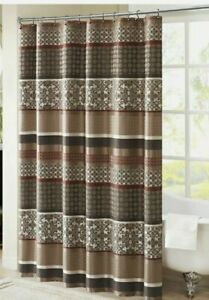 """Brown Taupe & Red Geometric Damask Striped Fabric Shower Curtain - 72"""" x 72"""""""