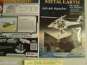 METAL EARTH 3D METAL KIT METAL A MONTER HELICOPTERE AH  APACHE + 14 ANS  NEUF
