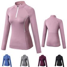 Womens 1/4 Zipper Compression Shirt Thumbhole Long Sleeved Gym Tops Sportswear