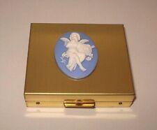 Bircraft ~ Cupid Cameo CONTACT LENS POCKET TRAVEL KIT BRASS Holder Case Box Vtg