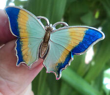 Vintage Attractive LARGE Silver & Enamel Butterfly Brooch c.1910/20s