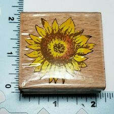 SUNFLOWER RUBBER STAMP WOOD MOUNTED FLOWER