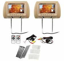 "Pair Rockville RHP7-BG 7"" Beige TFT-LCD Car Headrest TV Monitors w/ Speakers+IR"