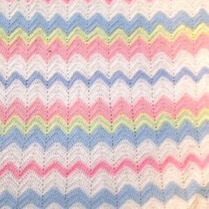 HOMEMADE BABY BLANKET crocheted pastel blue pink yellow green white zig zag