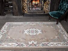 Aubusson Lotus Premium Wool Rugs Fawn Traditional Hand Carved Chinese Rug Runner