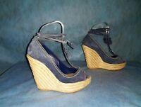 sandales compensées SERGIO ROSSI en cuir daim bleu pointure  36 fr super etat