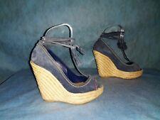 sandali con zeppa SERGIO ROSSI pelle camoscio blu taglia 36 fr stato perfetto