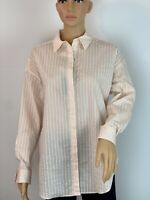 Massimo Dutti Striped Oversized Boho Retro Elegant Casual Shirt Button Up  XS-M