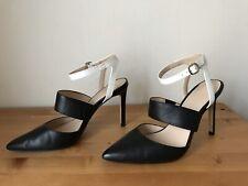 Banana Republic black white leather ankle strap pumps shoes sz 8