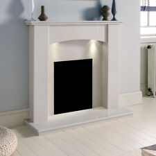 WHITE MARBLE STONE CURVED SURROUND MODERN CHEAP FIRE FIREPLACE SUITE DOWNLIGHTS