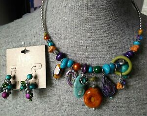 ARIS by Treska Artsy Charm Coil Choker Multi-Colored Necklace & Earrings *NEW*