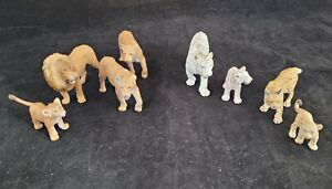 Schliech Lion White Tiger Lynx With Cubs Realistic Plastic Toy Lot Of 8 Figures