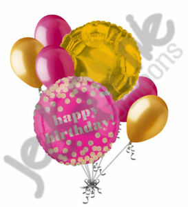 7pc Hot Pink & Gold Glitter Dots Happy Birthday Balloon Bouquet Party Decoration