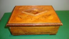 Vintage Wood Jewelry Music Box Isle Of Capri Made in Italy Inlaid Lacquered