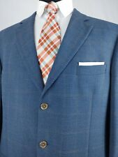 Jack Victor Men's Wool Blue Window Pane Check Sport Coat Jacket 44XL