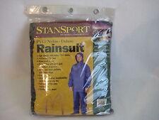Stansport PVC Polyester Rain Suit M Full Hood Blue Visor Pockets Camping Work