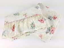 Vintage 1980s Twin Sheet Set Floral Ruffle Flat Fitted Pink Lace